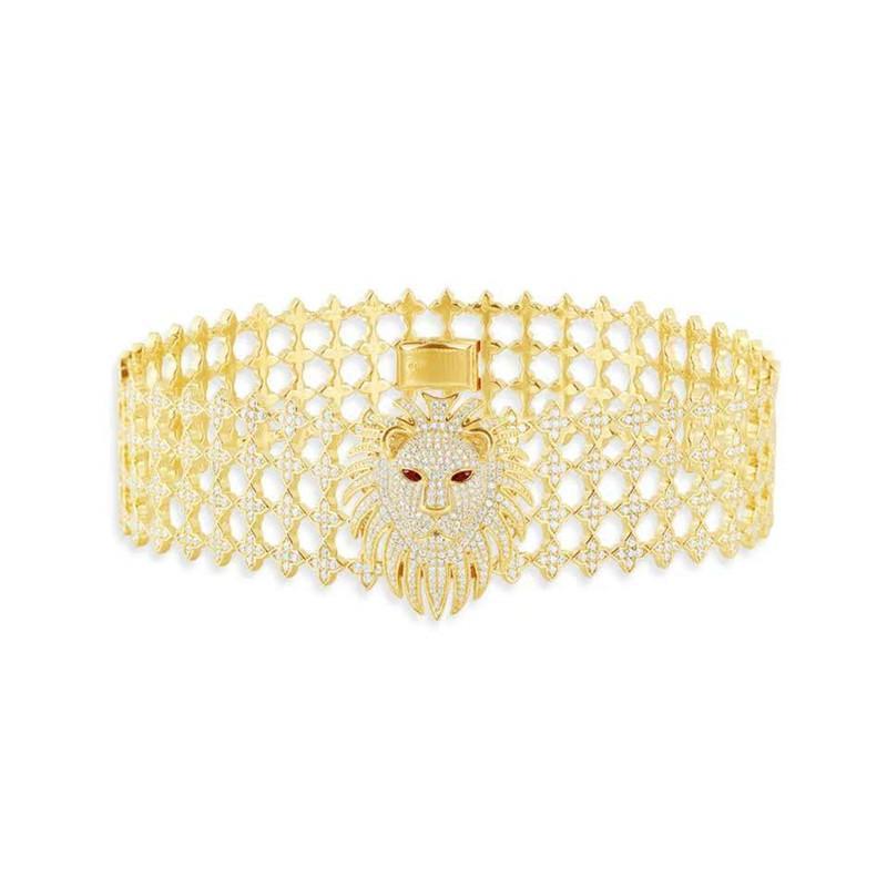 Oro Giallo Collana Donne Europa e in America popolare caldo placcato leone CZ Choker collana per le ragazze delle donne per la festa nuziale Nizza regalo