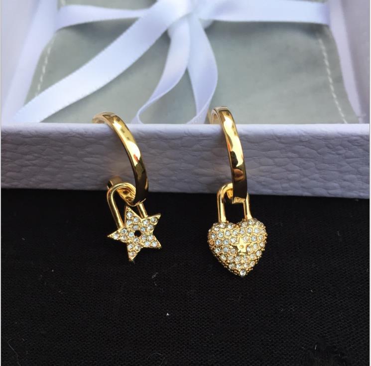 Круговой замок, любовная кнопка уха, женская Золотая пентаграмма серьги