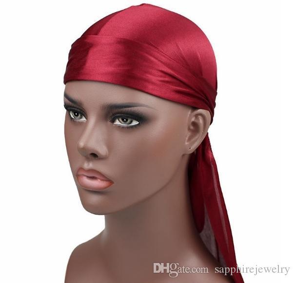 2019 جديد أزياء رجالية الحرير durags باندانا العمامة الباروكات الرجال حريري durag أغطية الرأس عقال القراصنة قبعة اكسسوارات للشعر