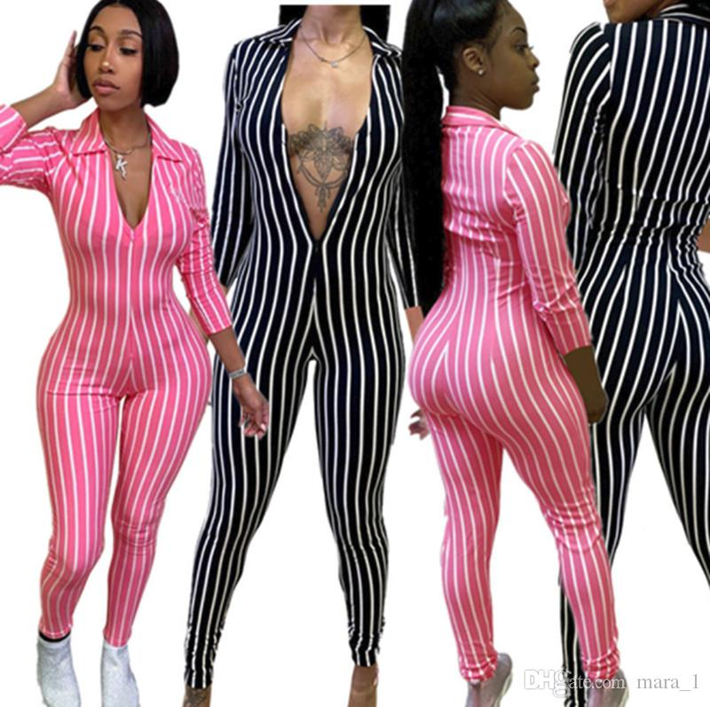 Designer Women Jumpsuit rompers Striped bodycon long sleeve jumpsuit sexy rompers lady casual clothes deep v-neck sportswear one-piece