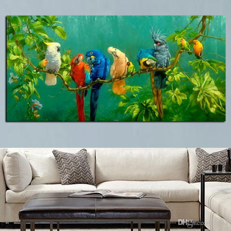 Artistik Papağan Kuş Ağaç Peyzaj Yağ Salon Home Decor için Tuval Duvar Resmi üstünde resim Şube üzerinde