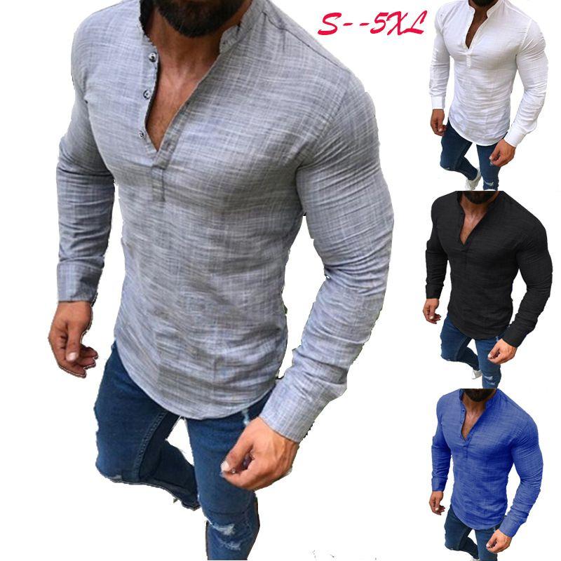 Мода Мужские рубашки с длинным рукавом однобортный осень поло рубашки кнопка вниз повседневная твердые топы Tee плюс размер одежды 5XL Оптовая