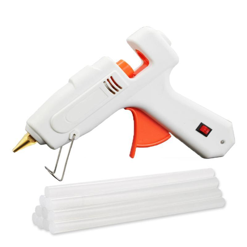 Alta Potencia Hot Melt Glue Gun 40/100 / 120W enchufe de la UE Hot Melt pegamento pistola 110-240 Herramientas de bricolaje 10PCS Sticks