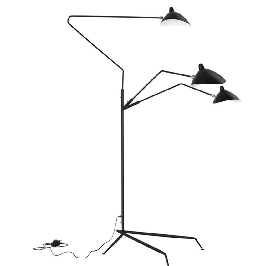 التصميم الحديث أسود / أبيض الطابق مصباح المعادن الذراع الذراع الطابق ضوء الدائمة مصباح لوفت نوم الصناعية داخلي الجدول مصابيح