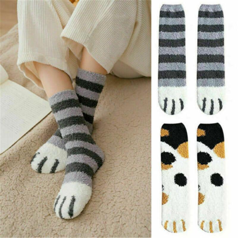 1 paire de peluche corail polaire chaussettes automne chaussettes tube femelle et griffes de chat hiver chaussettes de sommeil mignon plancher de couchage chaud d'épaisseur