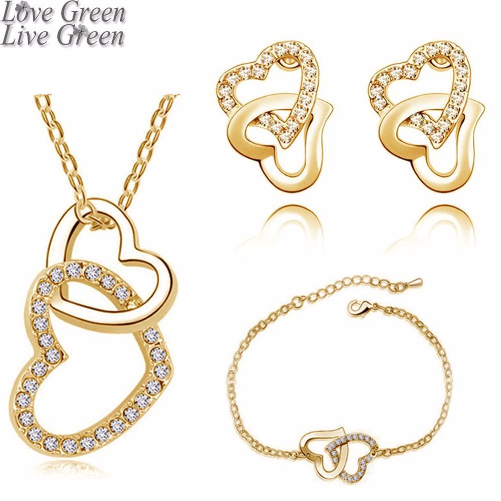 3 femmes ensemble pendentif strass coeur de cristal de mariage marque Autrichienne collier bracelet boucles bijoux à la mode Ensembles 80017