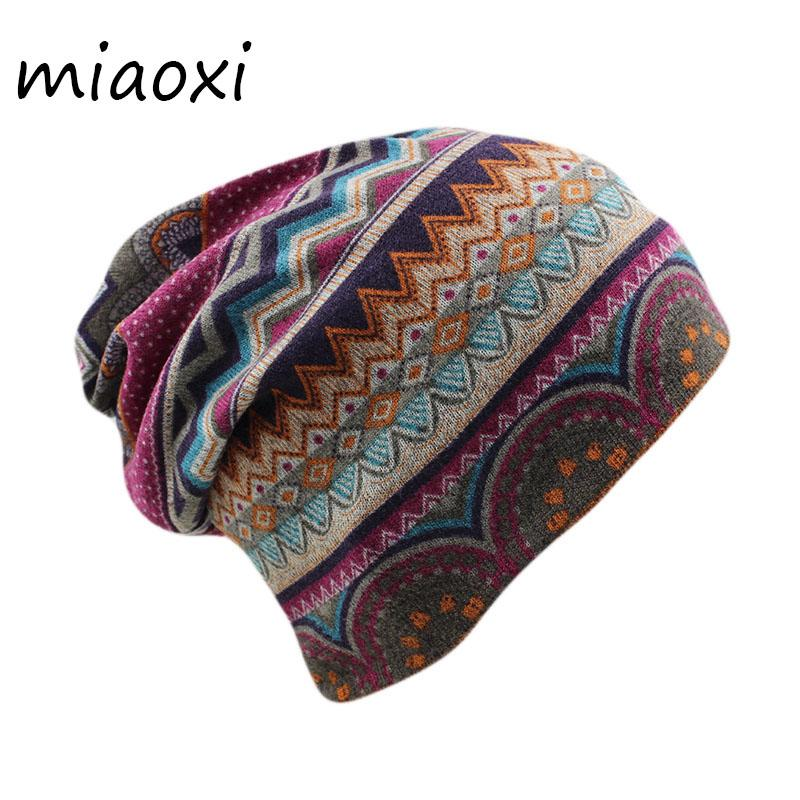 miaoxi New Women Beanies Skullies Lady Fashion High Quality Hip Hop Floral Winter Cap Scarf Adult Polyester Autumn Hat Headdress S18120302