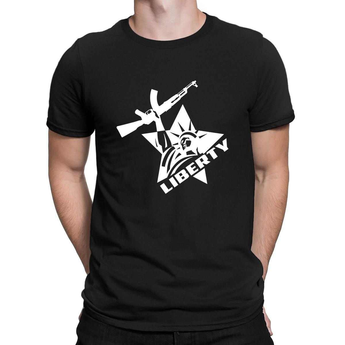 Statua della Libertà Ak 47 Stelle T-shirt di cotone Lettera Crea il Pazzo maglietta per gli uomini strani vestiti Sunlight New Fashion