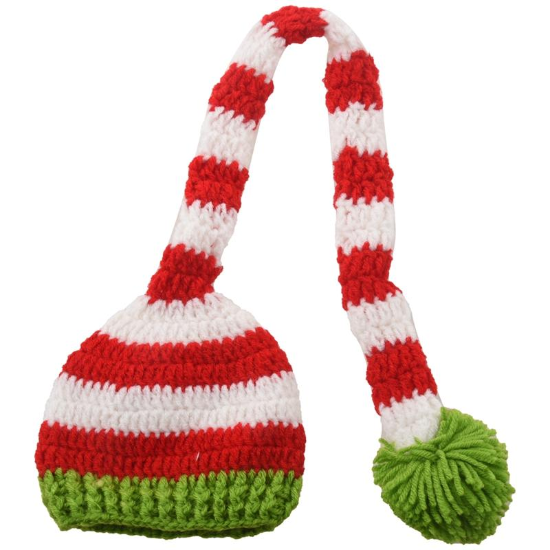 Christmas Crochet Knit Baby Photo Hat Green Red