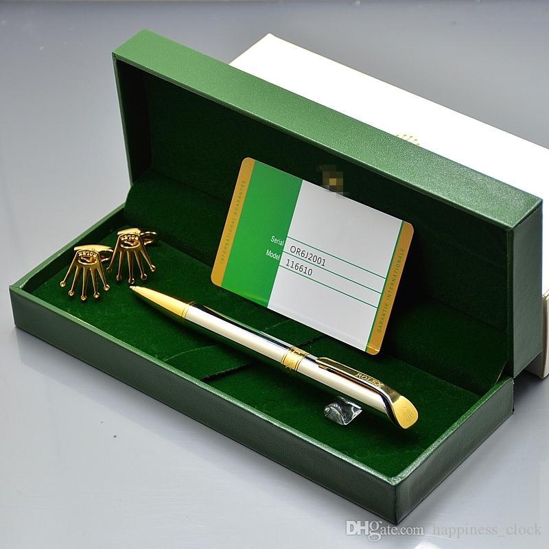 Luxury Birthday Gift Set - High quality Rx Branding Metal Ballpoint pen + Men Shirt Cufflinks Jewelry Cuff links with Original Box packaging