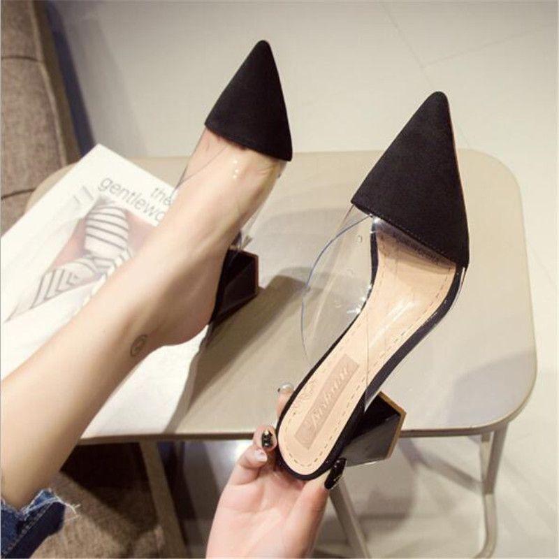 De punta estrecha plaza de ante de tacón alto talones Muller zapatillas de las mujeres 2020 zapatos del verano de las mujeres de la manera del remiendo de las señoras zapatos de poca profundidad