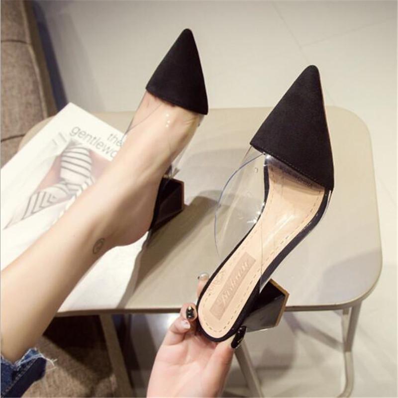 Sapato de bico fino Suede Praça salto saltos altos Muller chinelos mulheres 2020 sapatas do verão das mulheres Moda retalhos rasos sapatas das senhoras