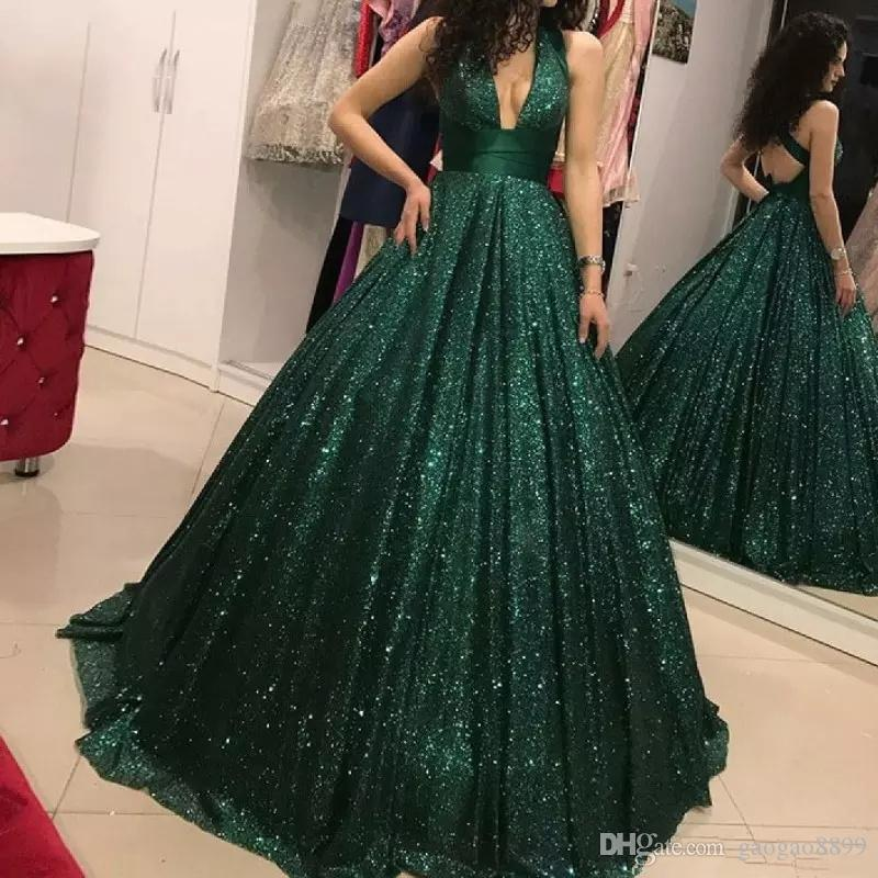 Dark green Sparkly Sequins Sexy criss cross straps open back Evening Dresses ball gown Sexy V neck Full length formal celebrity Prom Dresses