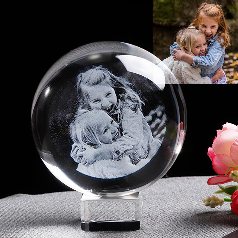 شخصية زجاج إطار الصورة الكرة مخصص كريستال غلوب الليزر محفورة الزفاف إطار الصورة تذكارية