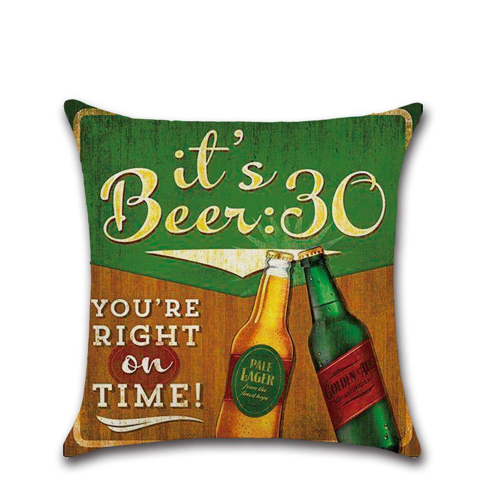 Garrafa de férias Beer estilo fronha britânica Capa retro Pillow 45 * 45 centímetros Algodão Linho carro étnico fronha Home Bar Decoração GGA3234-2