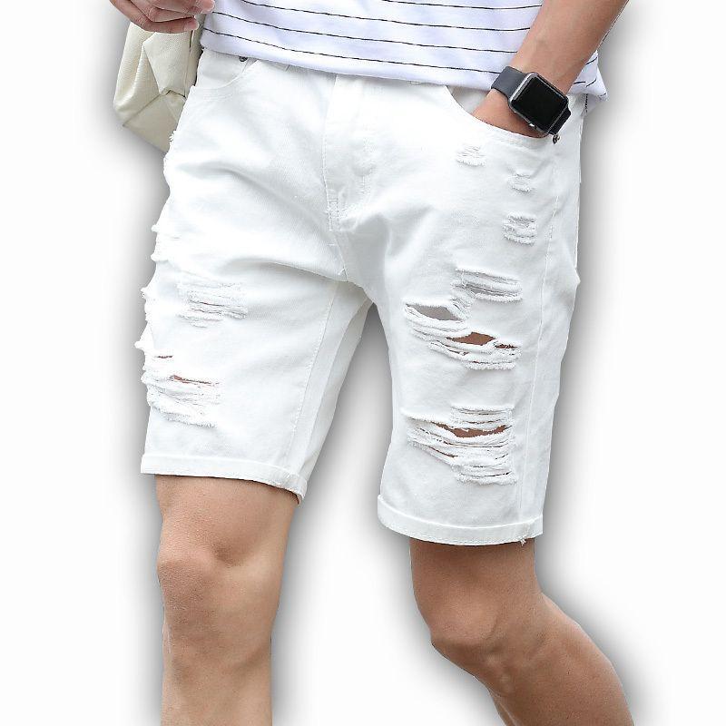 Mens Denim Shorts Slim Large size Casual Knee Length Short Hole Jeans Shorts For Men 2018 New Summer White Blue black T200520