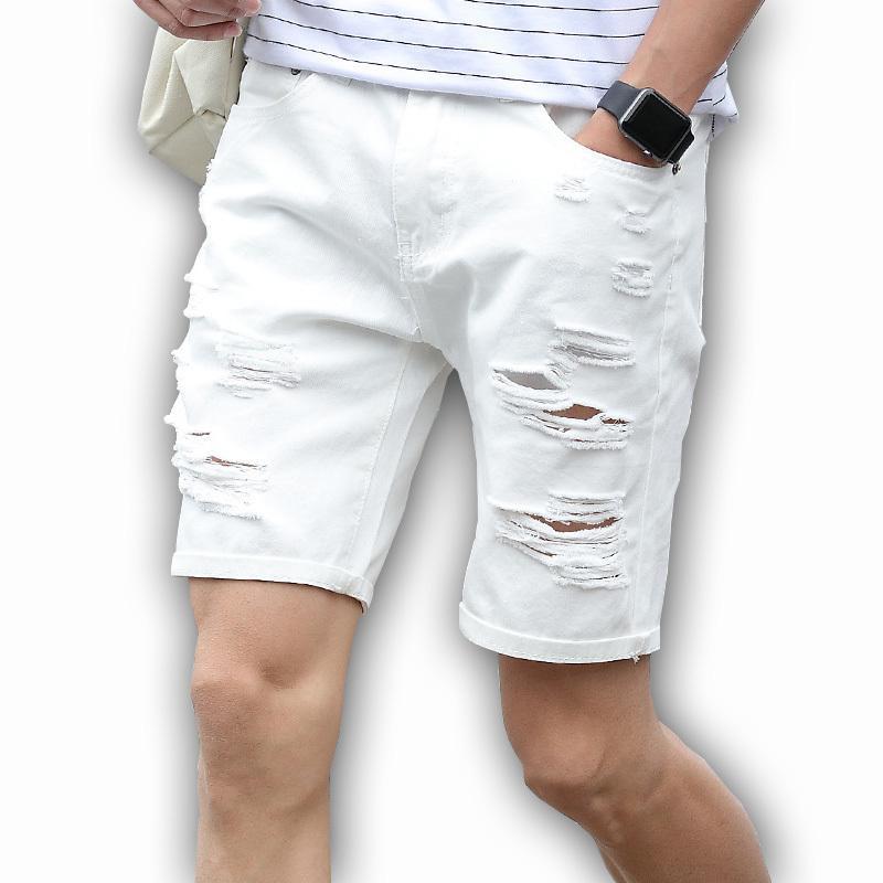 Mens Denim schließt dünne große Größe beiläufige Knielänge Kurz Loch-Jeans Shorts für Männer 2018 neue Sommer-Weiß Blau schwarz T200520