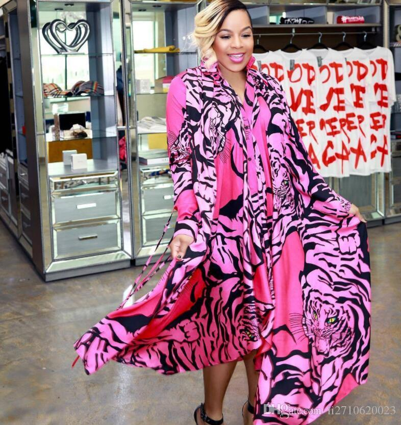2019 Ladies Pink Tiger head printing Asymmetrical Dresses Sexy Women Lapel Neck Long Sleeve shirt Dress Womens Evening Party Dress
