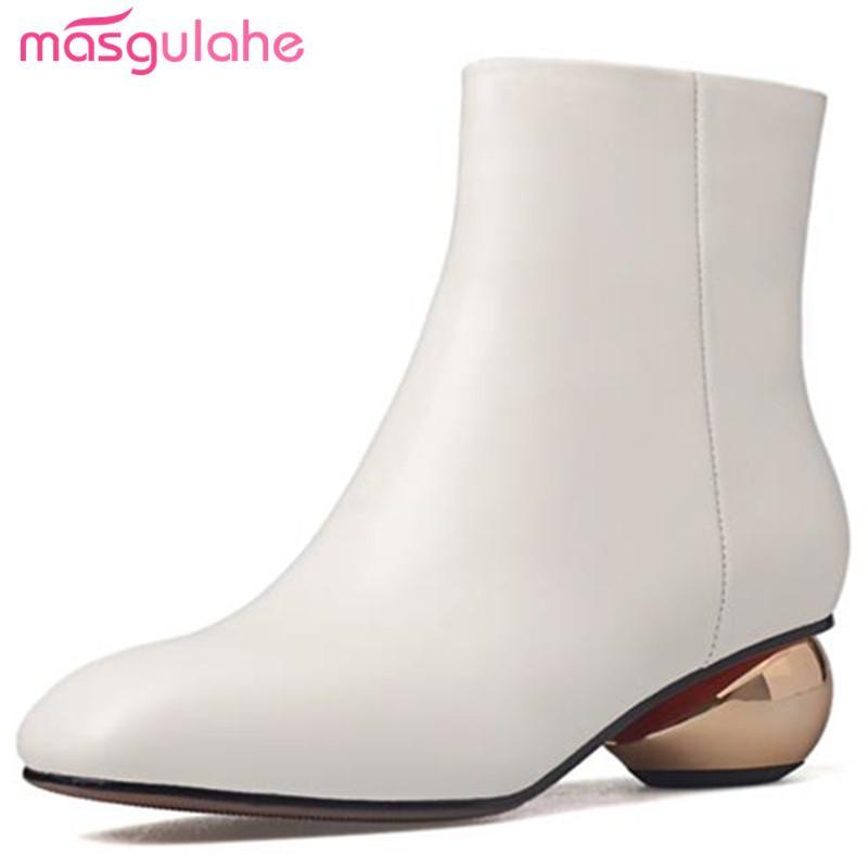 Masgulahe 2018 nouvelles bottes d'hiver d'automne d'arrivée simples bottes en cuir véritable cheville talons épais med bout carré chaussures femme