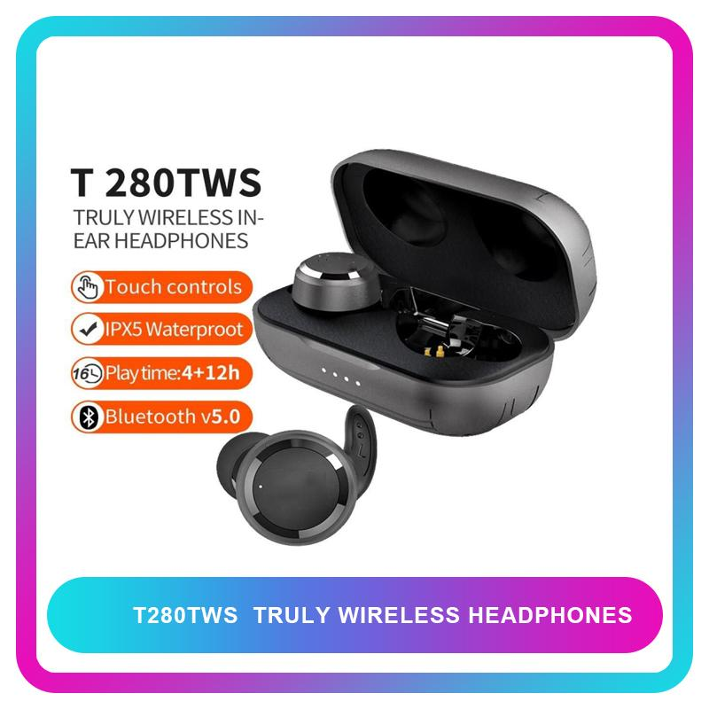 T280 TWS صحيح بلوتوث اللاسلكية 5.0 سماعات ستيريو الموسيقى سماعات الأذن رياضة الجري سماعة IPX5 ماء مع هيئة التصنيع العسكري
