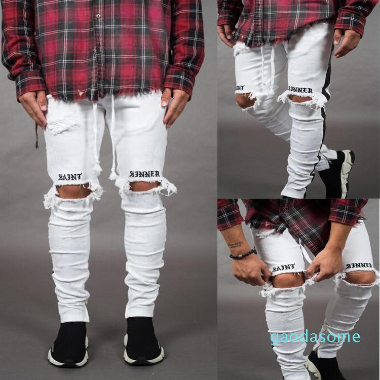Erkek Pantolon Kalem Şerit Jeans Avrupa Delik Side ve Amerikan Rüzgar High Street Pantolon jh05 Broken
