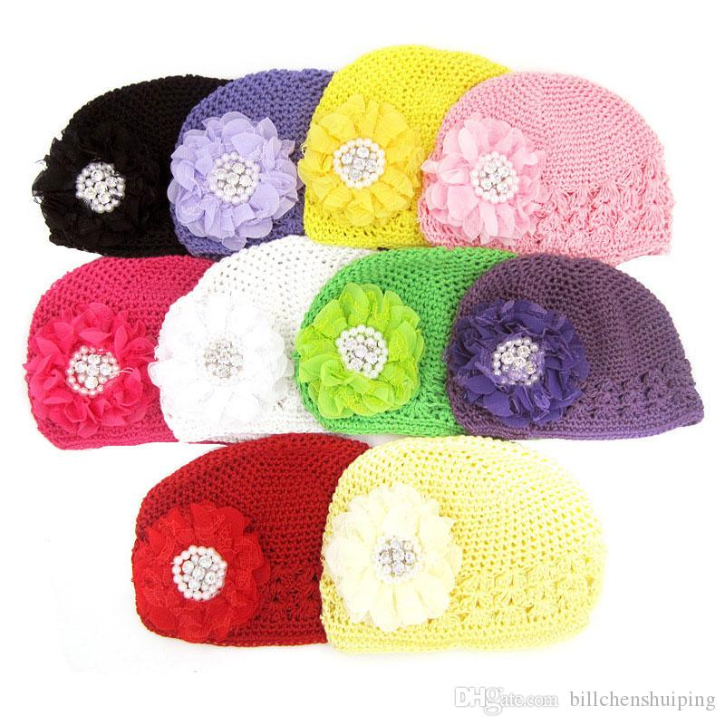 Vendita calda New Toddlers Infant Baby Girl Fashion Flower Crystal Hollow Out Cappelli Headwear maglia a maglia bambini Cap
