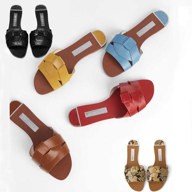 Zapatillas de mujer diapositivas al aire libre señoras pisos Pu cuero cómodo Chic suave Casual elegante verano mujer moda zapatos 2019 Y200423