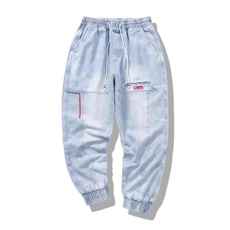 4 estilos de calças soltas locomotiva bordados calças cortadas de alta qualidade listrados