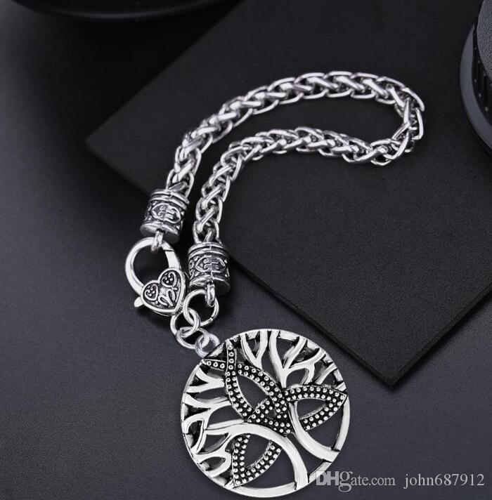 JF058 Nórdico pingentes de forma oco da árvore do vintage talismã pagão amuleto pulseiras Viking longo ajustável cadeia de cabo