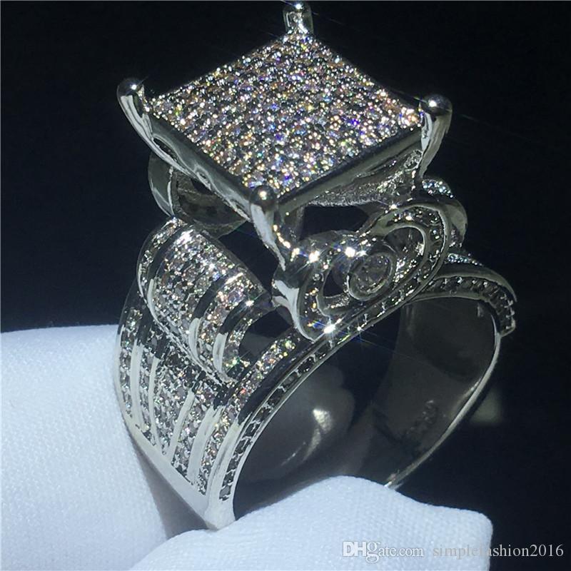 Majestoso Anel de Sensação 925 Sterling Silver Paver Setting Diamond CZ Engajamento Casamento Banda Anéis para Mulheres Homens Jóias