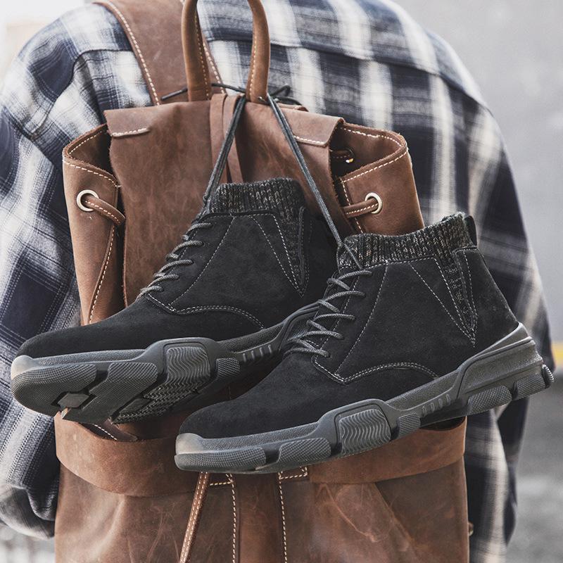Homens botas de couro homens de Inverno de pelúcia botas quentes Shoes Men alta Tops neve Botas Confortável Chaussure Homme Segurança Bota de Trabalho