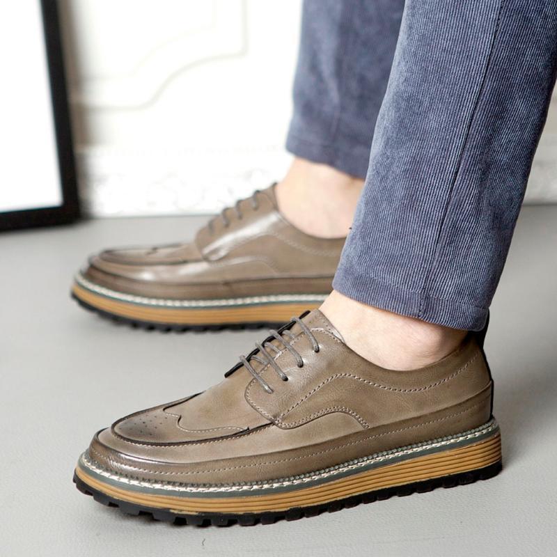 KANCOOLD sapatos de couro casuais Vintage britânica de couro sapatos masculinos de Primavera / Outono sólidos respirável confortáveis homens casuais 1212
