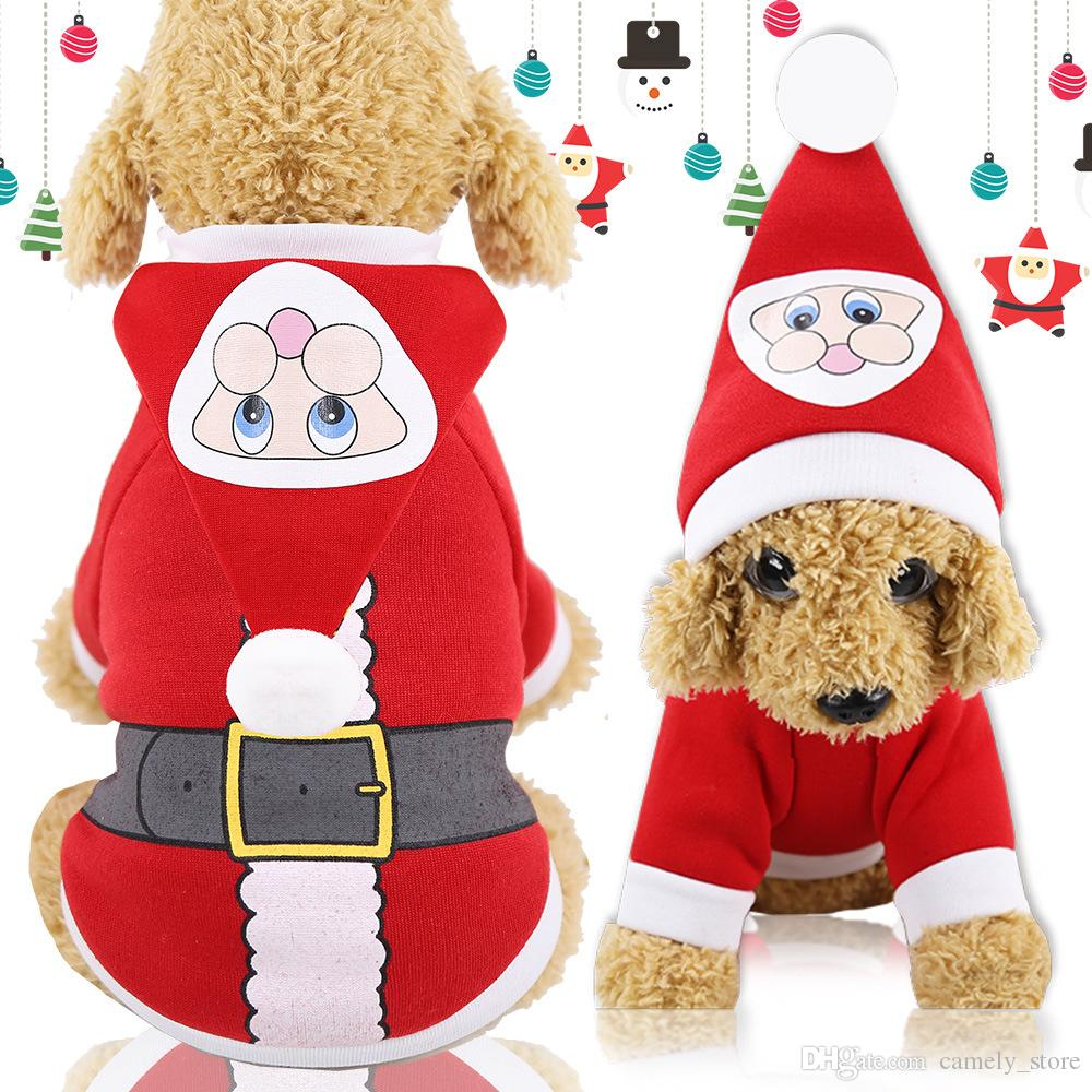Dog Christmas Day Clothes Cats Coats Pet Clothes Autumn Winter Hooded Sweater Santa Claus Small Medium Dog Canvas