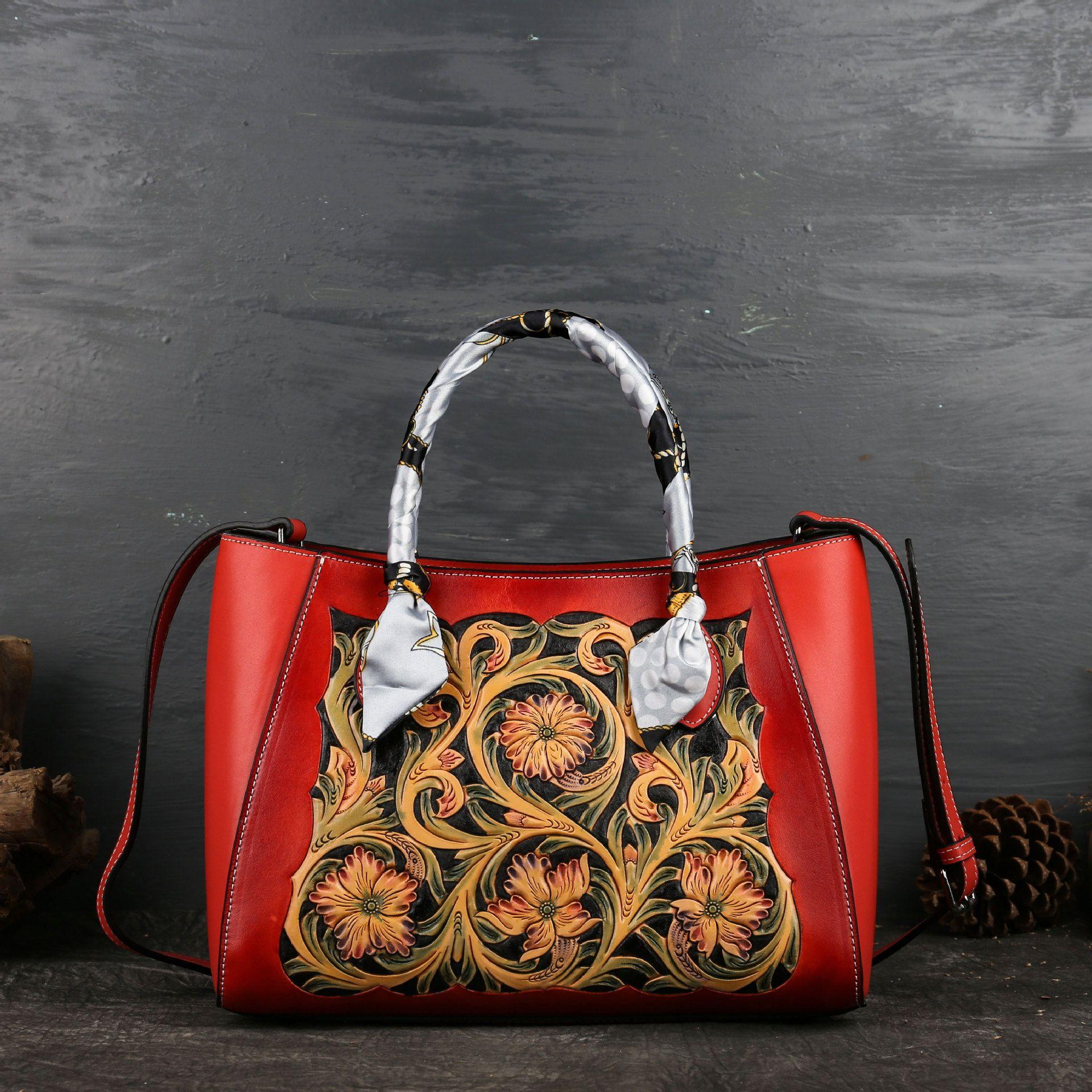 Beutel der Frauen Herbst und Winter 2019 neue Leder Skulptur geprägt Umhängetasche aus Leder retro Frauen einzelne Schulter Rucksack