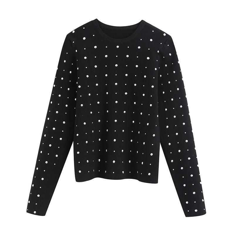 Rivet élégant design Vintage Crop pull en tricot O manches longues Femme Pullovers Bureau Black Ladies Blouses