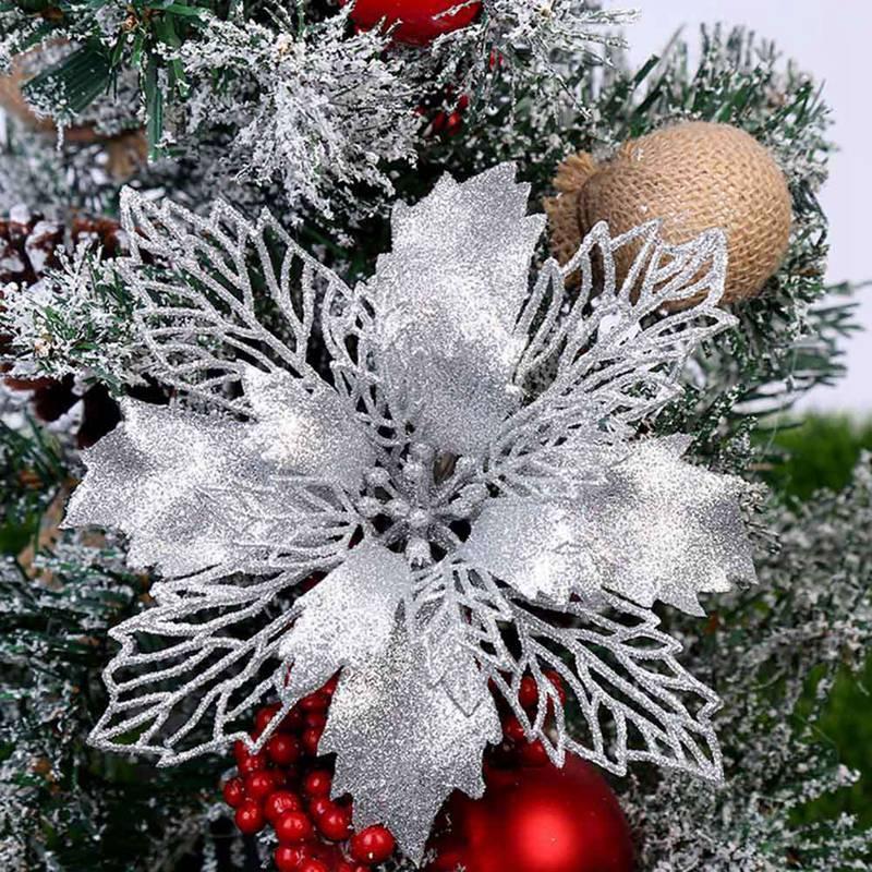 5pcs / Paquet Grand Fleurs artificielles pour la décoration de Noël Glitter Faux fleurs bricolage Home Noël Nouvel An Décoration fleur de mariage