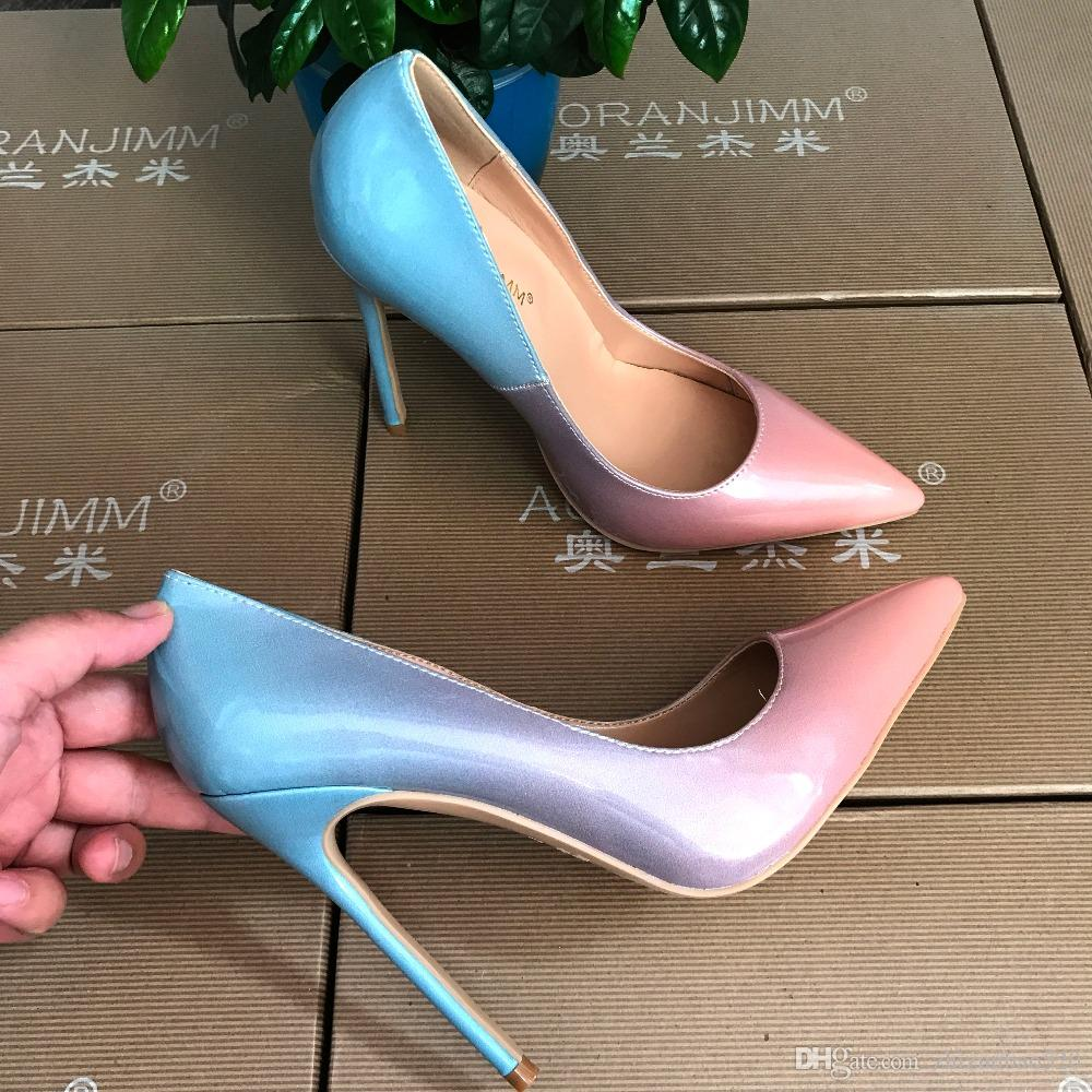 Повседневная дизайнер сексуальная леди мода синий блеск стразы острым носом женщины леди 120 мм туфли на высоком каблуке весна Марка насос на продажу 10 см 8 см
