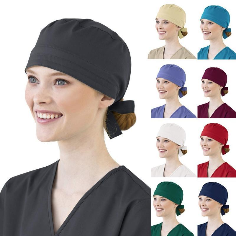 Kadınlar Pamuk Bandaj Ayarlanabilir Scrub Cap Kafa bandı Bouffant Şapka Erkekler Yetişkin Erkekler Açık Koruyucu kap Hat Katı Renk Siyah