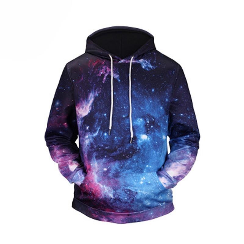 الرجال الجديد بلوزات طويلة الأكمام الخريف الشتاء عارضة س الرقبة 3d سماء نجمية طباعة أزياء هودي حجم كبير حار بيع