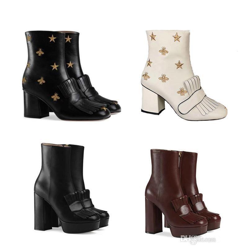 Botas de diseñador de invierno botines de plataforma con flecos Botas de plataforma de tacones altos de cuero bordado de tacón medio mujer vintage talla grande Bee Star