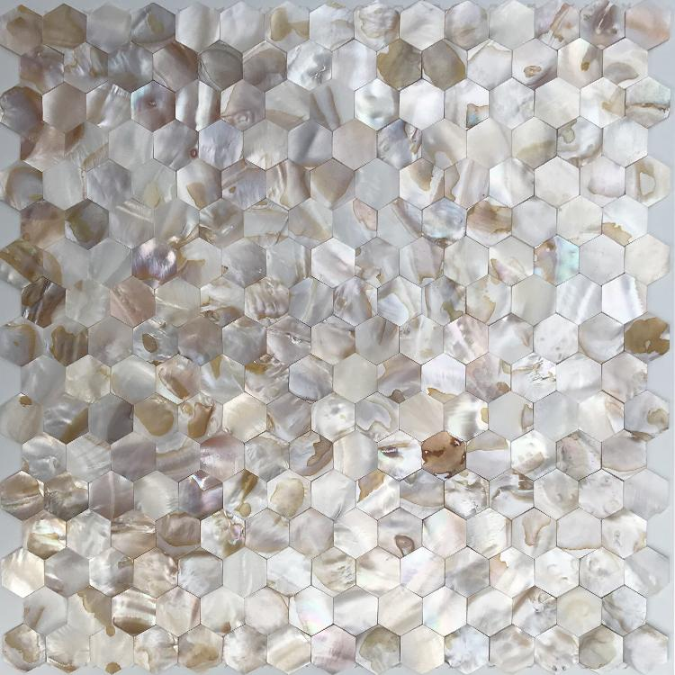 inci kiremit backsplash MOP19029 tatlı su altıgen kabuk mozaik banyo duvar karo Sorunsuz Anne