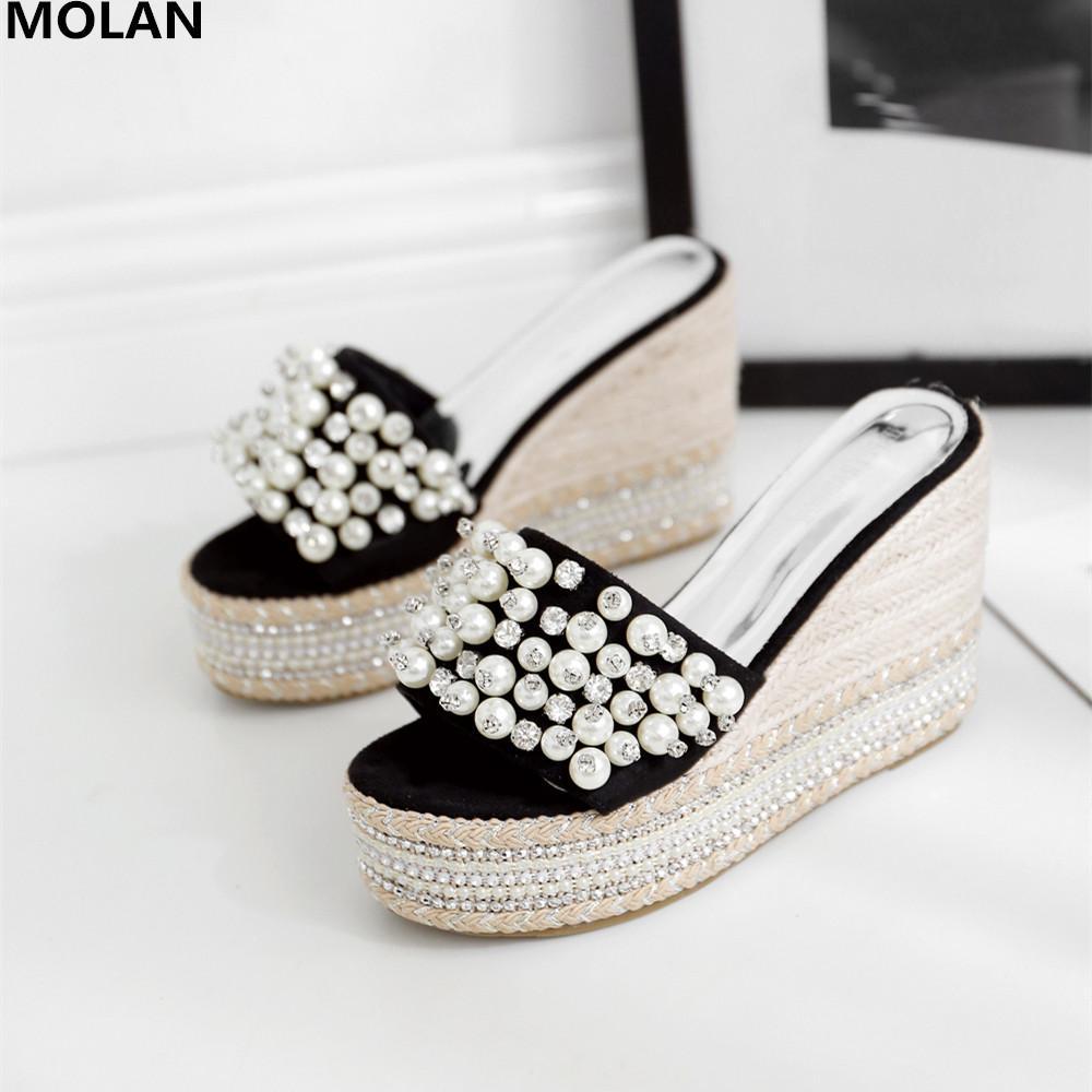 MOLAN Marka Tasarımcıları 2019 Yaz Lüks Inci Bling Takozlar Platformu Yüksek Topuklu Bayan Loafer'lar Katırlar Üzerinde Kayma ...