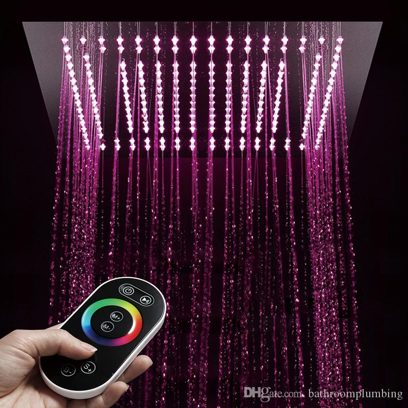 """Platz Niederschlag Fernbedienung LED-Licht 16 """"Duschkopf Bad Dusche Wasserhahn ersetzen Kopf kleine Regen poliert Duschen"""