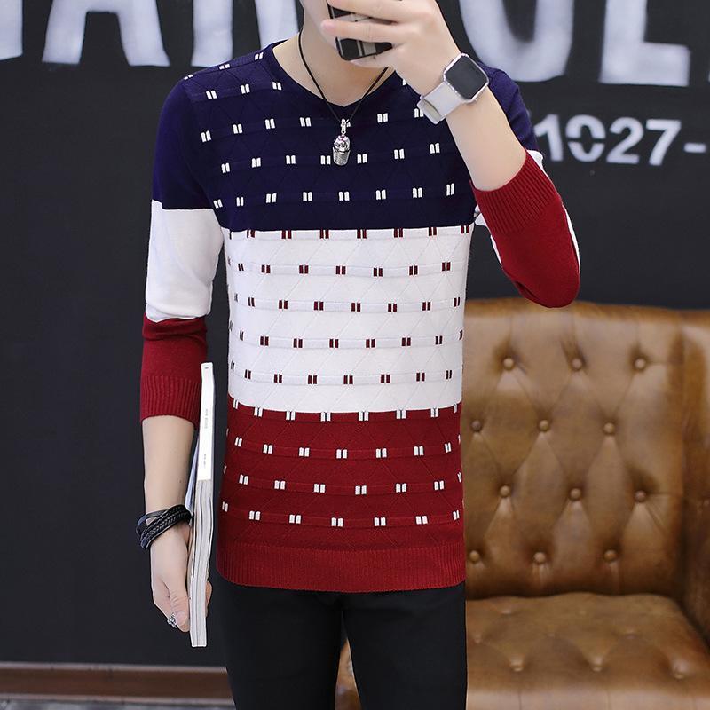 mens outono comércio exterior desgaste transfronteiriça camisola nova venda rápida dos homens versão coreana do selfcultivation moda e lazer camisola de malha