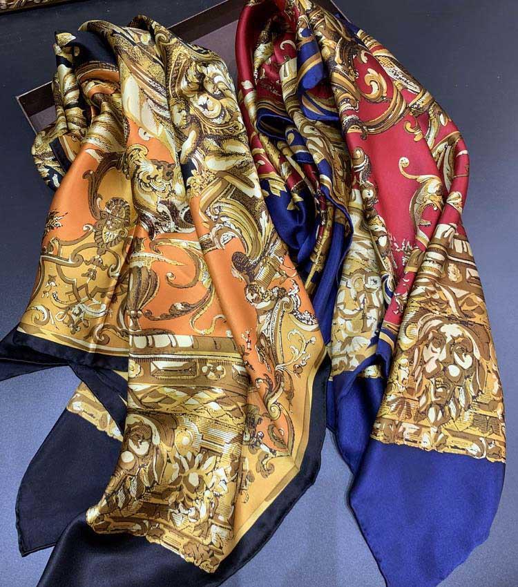 Luxus- Klassische Seidenschals-Marken-Entwerfer-Platz Schals und Tücher Wraps Hijab Pashmina Chic eleganten Dame Silk Muffler Kopftuch B