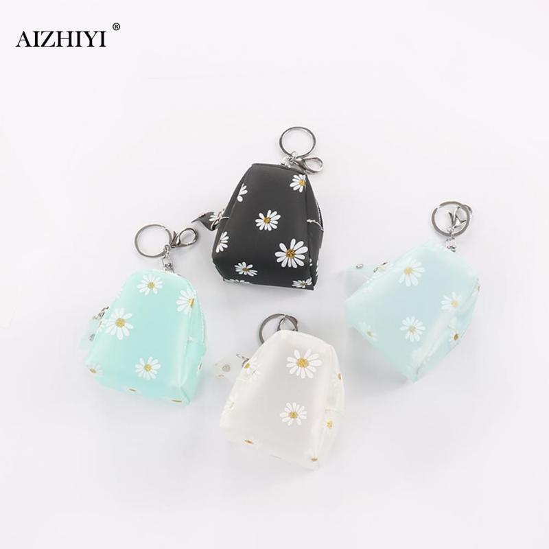 Flower Daisy Wallet Card Holder Waterproof Transparent Classic Texture Delicate Design Chic Portable Clutch Key Chain