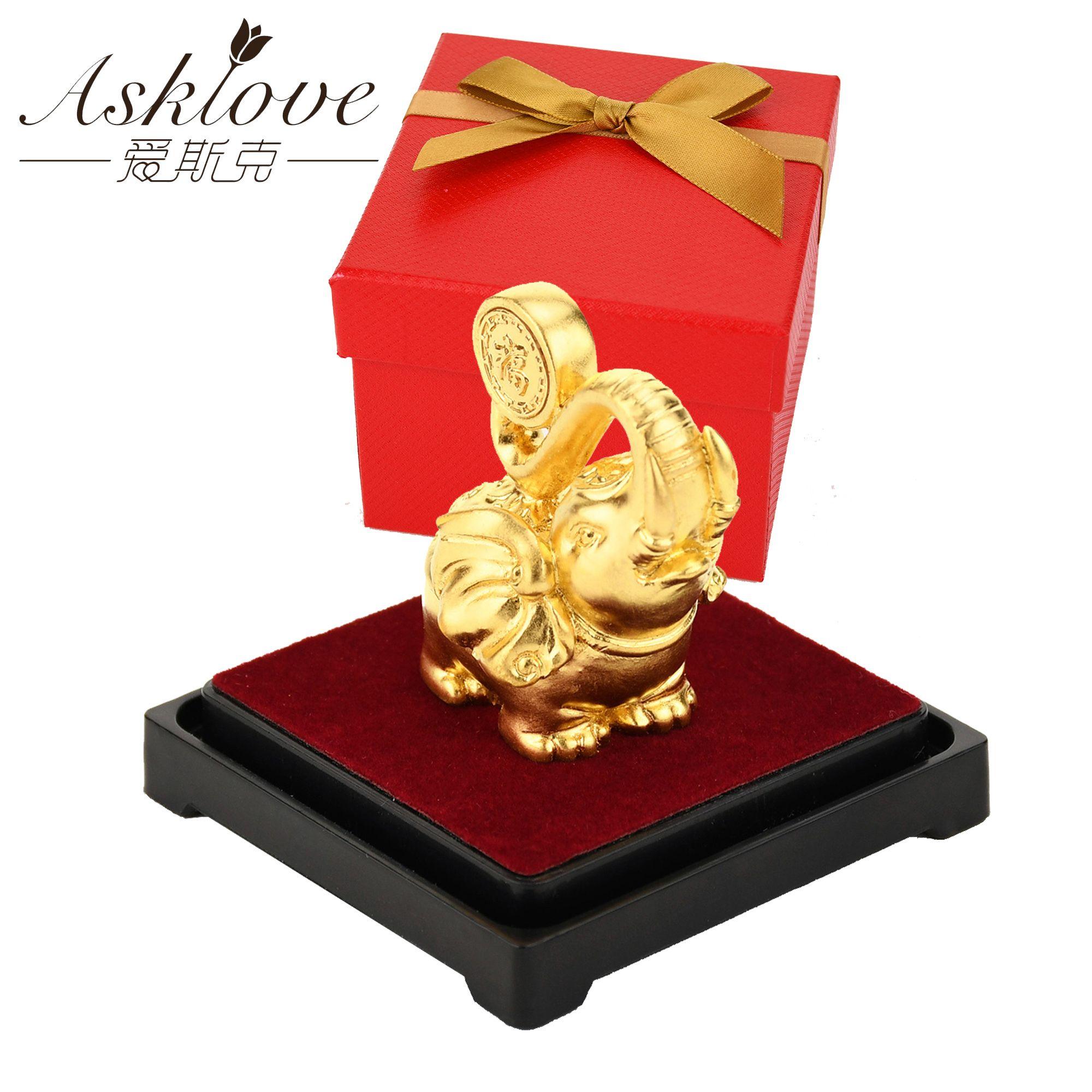 Şanslı bir Feng Shui 24K Altın Folyo Fil Heykeli heykelcik Süsleme Sanatları Servet Ev Ofis dekor T200624 toplayın