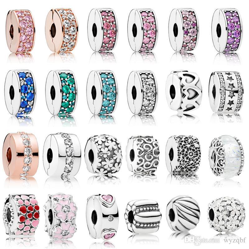 925 Sterling Silber Clip Charms Multi Style Blume Stopper Perlen mit CZ Fit Pandora Silber 925 Original Charm Armbänder