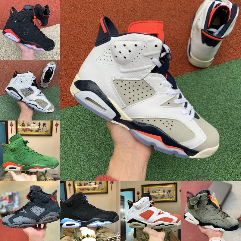 высокое качество Новый 6 6С всячески препятствовать ДМП Орегон утки баскетбол обувь белый заяц Трэвиса Скотта черный инфракрасный УНК мужские кроссовки Кроссовки США 7-12