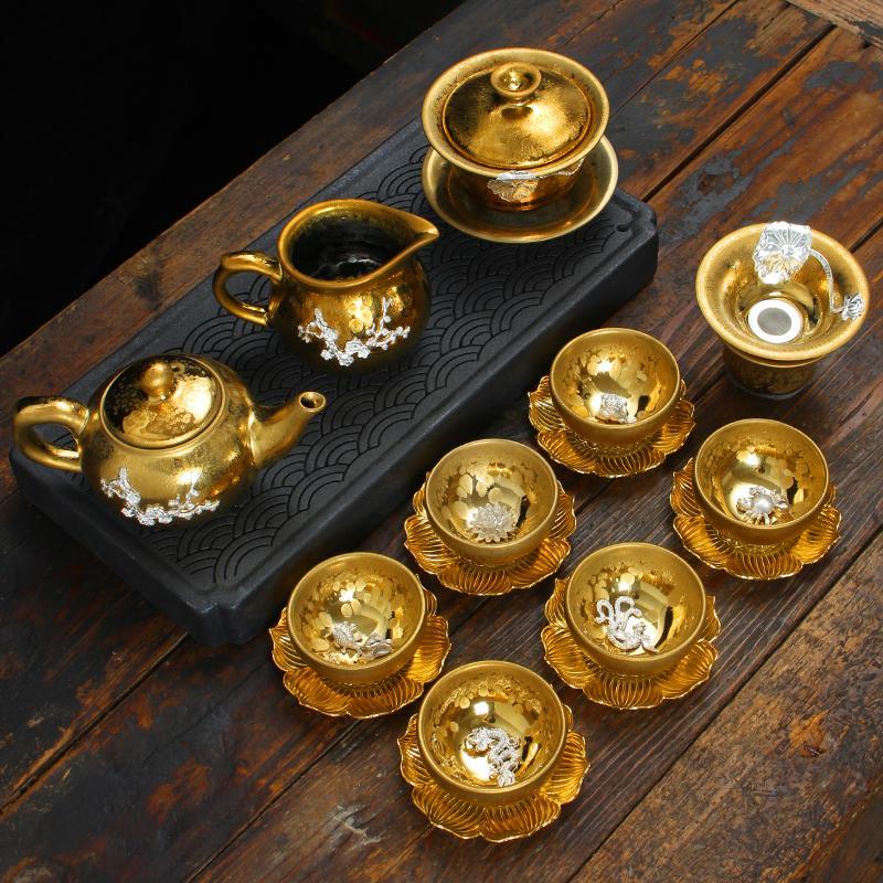 Gümüş Çay Seti Yağ Damlası Demir Lastik Seti Kung Fu Seramik Ev Gümüş Çay Bardak Kapağı Bowl Çaydanlık